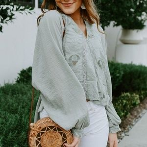 NWT Free People Sivan Embroidered Blouse